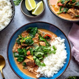 Einfaches Hähnchen Curry Rezept mit Spinat und Reis (Mild)