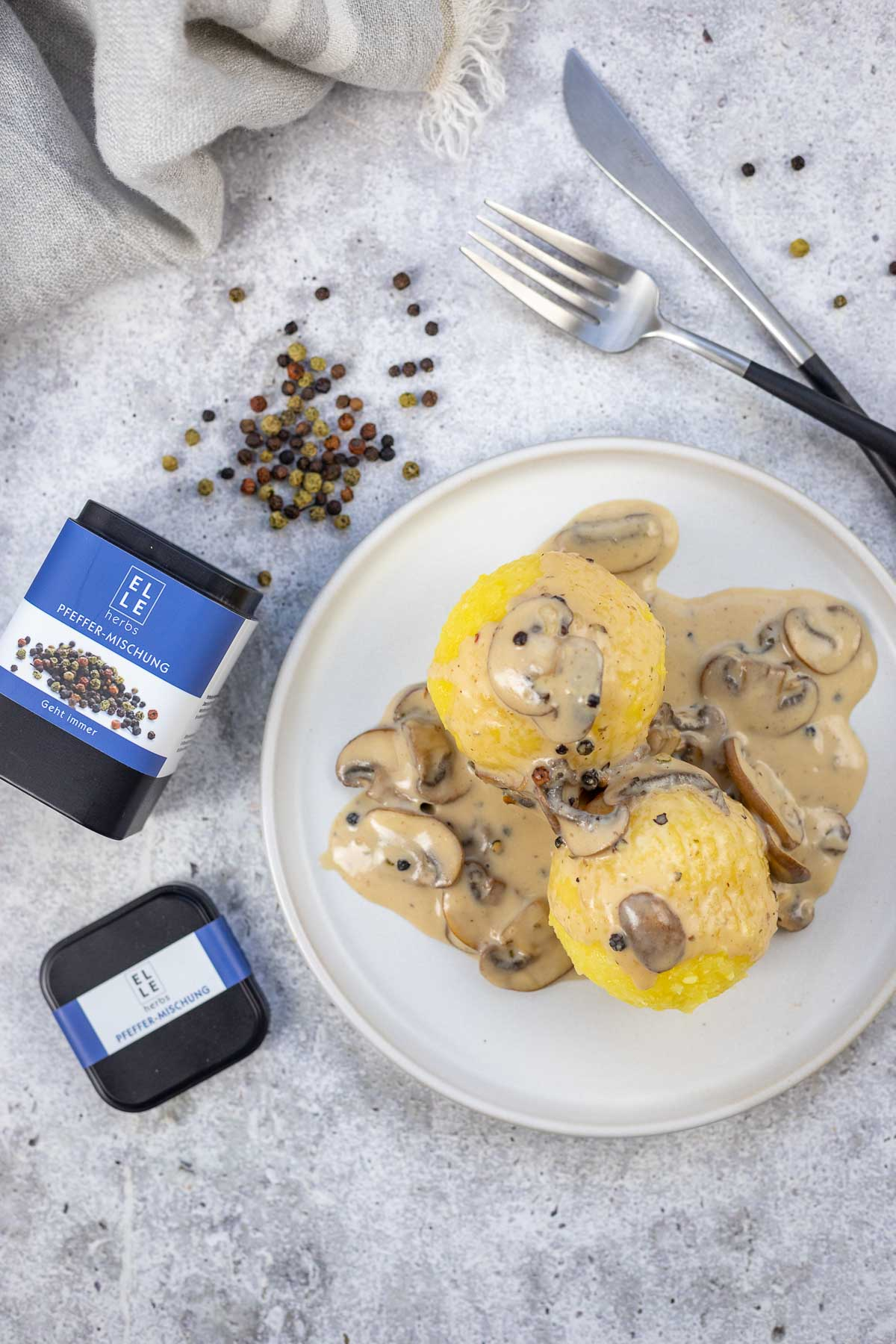 Champignon-Pfeffer-Sauce Rezept mit Elle Herbs Pfeffermischung