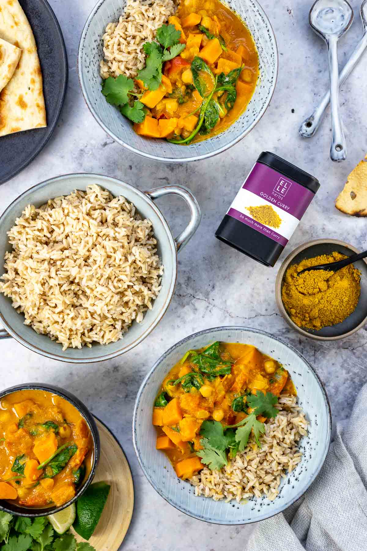 Sweet Potato Curry with Chickpeas Elle Herbs Golden Curry Gewürz
