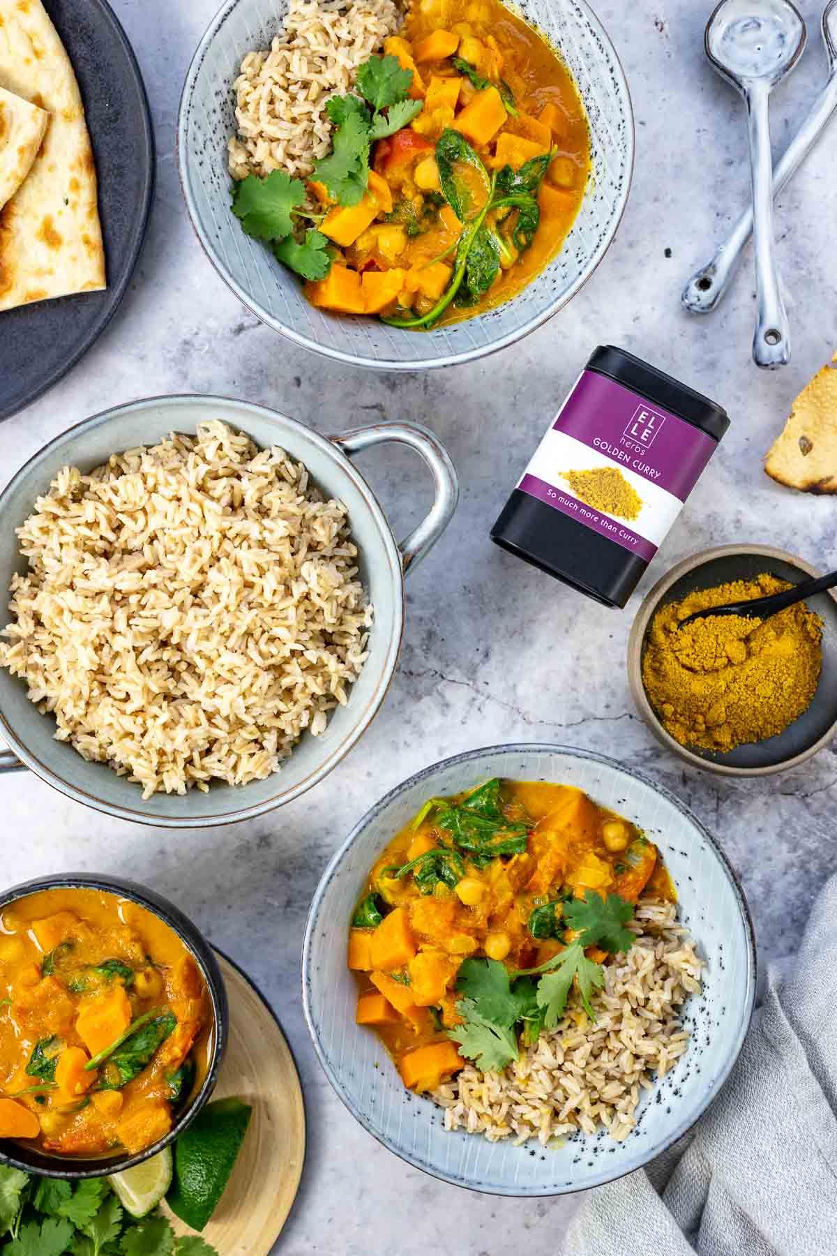 Süßkartoffel Curry mit Kichererbsen Rezept mit Elle Herbs Golden Curry Gewürz