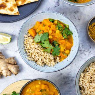Süßkartoffel Curry mit Kichererbsen Rezept