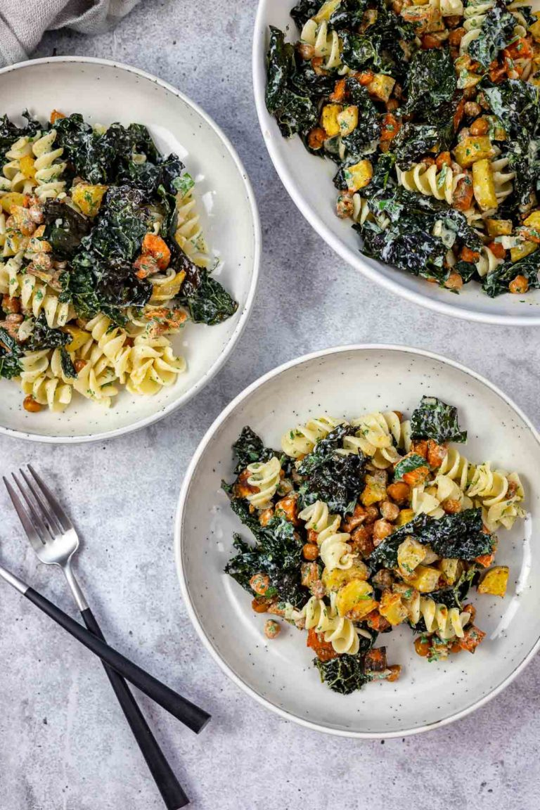 Winter Pasta Salad with Roasted Vegetables & Buttermilk Dressing
