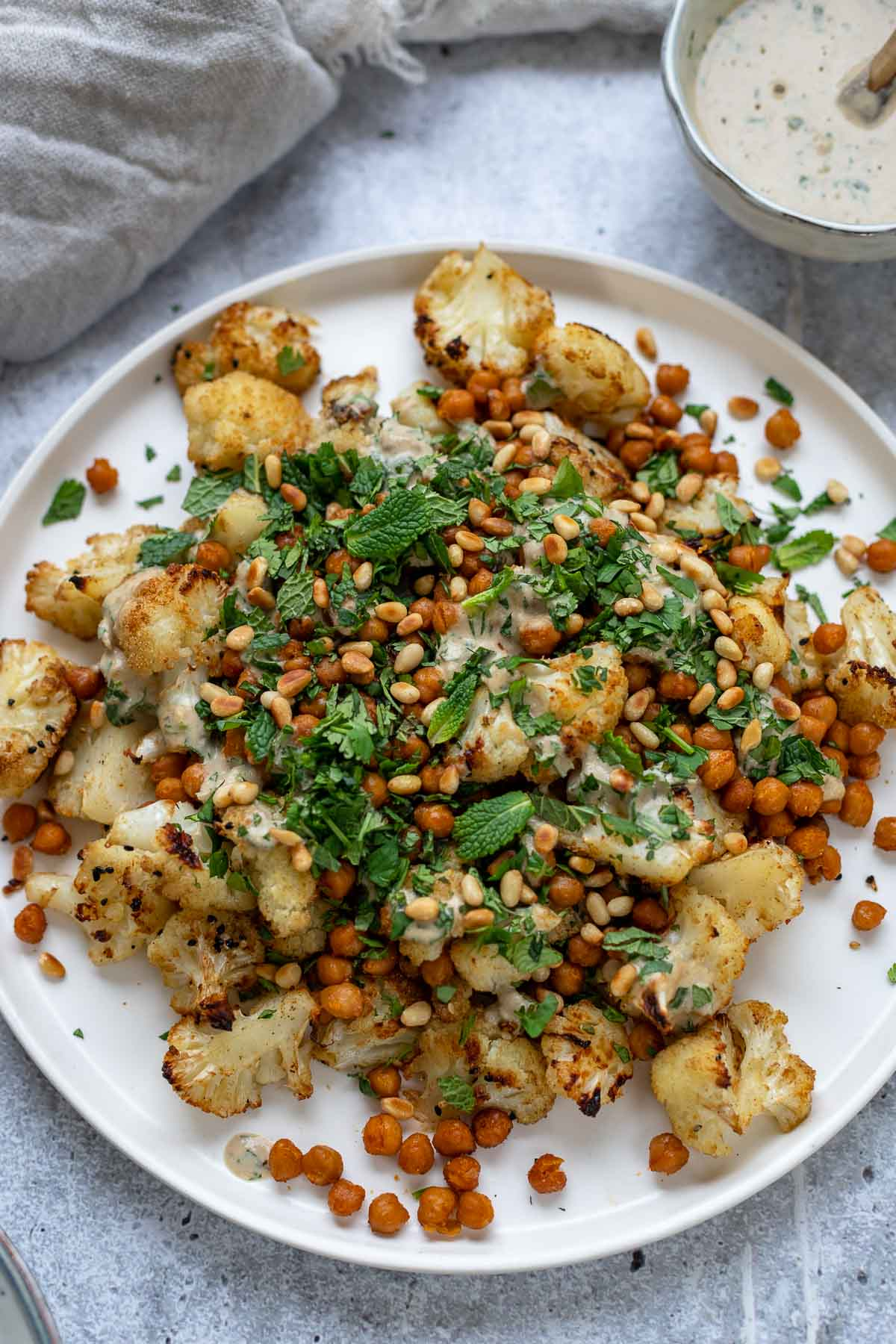 Roasted Cauliflower and Chickpeas with Tahini Dressing