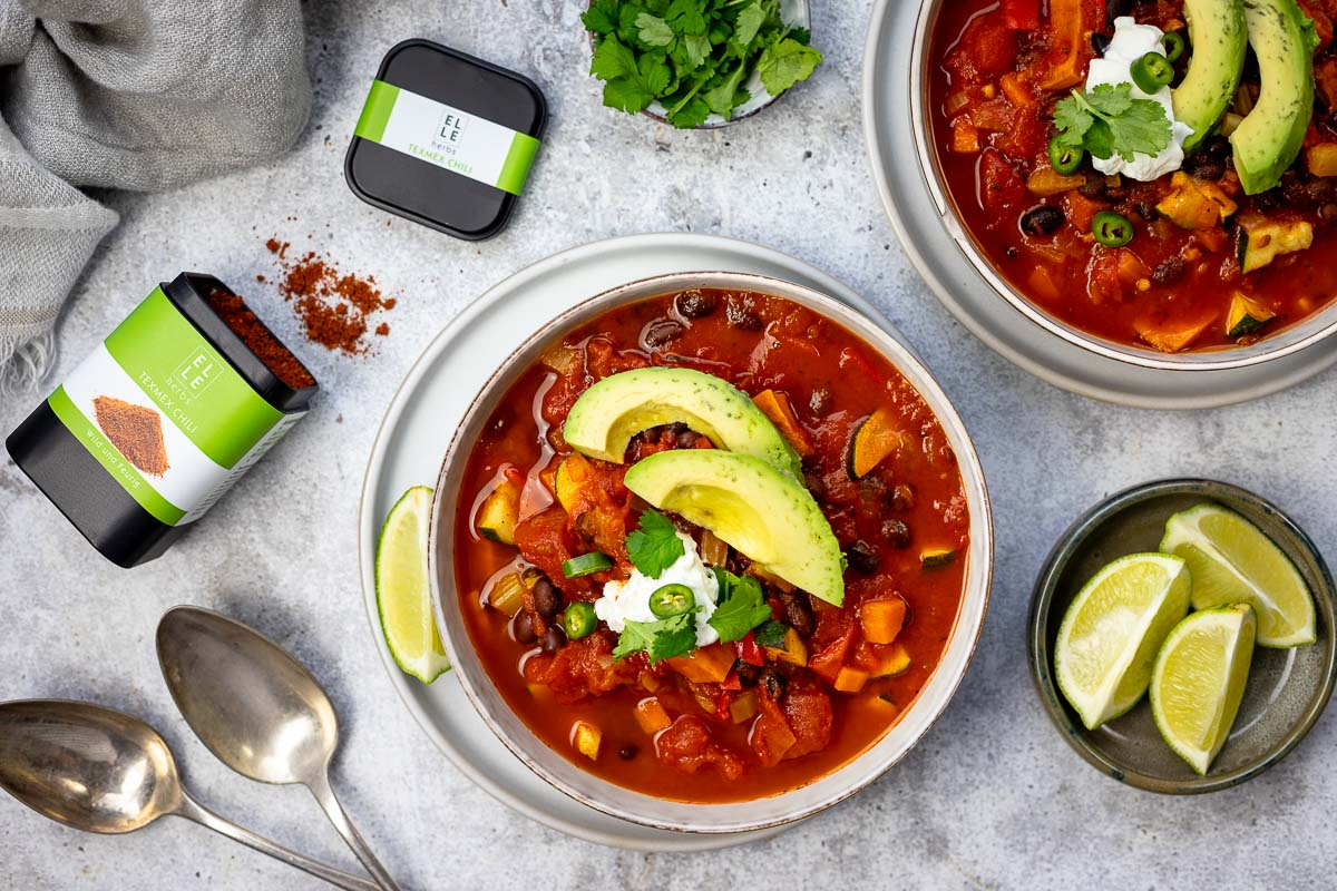 Vegetarisch Chili sin Carne mit TexMex Chili Geweurz Elle Herbs Rezept (1 of 10)