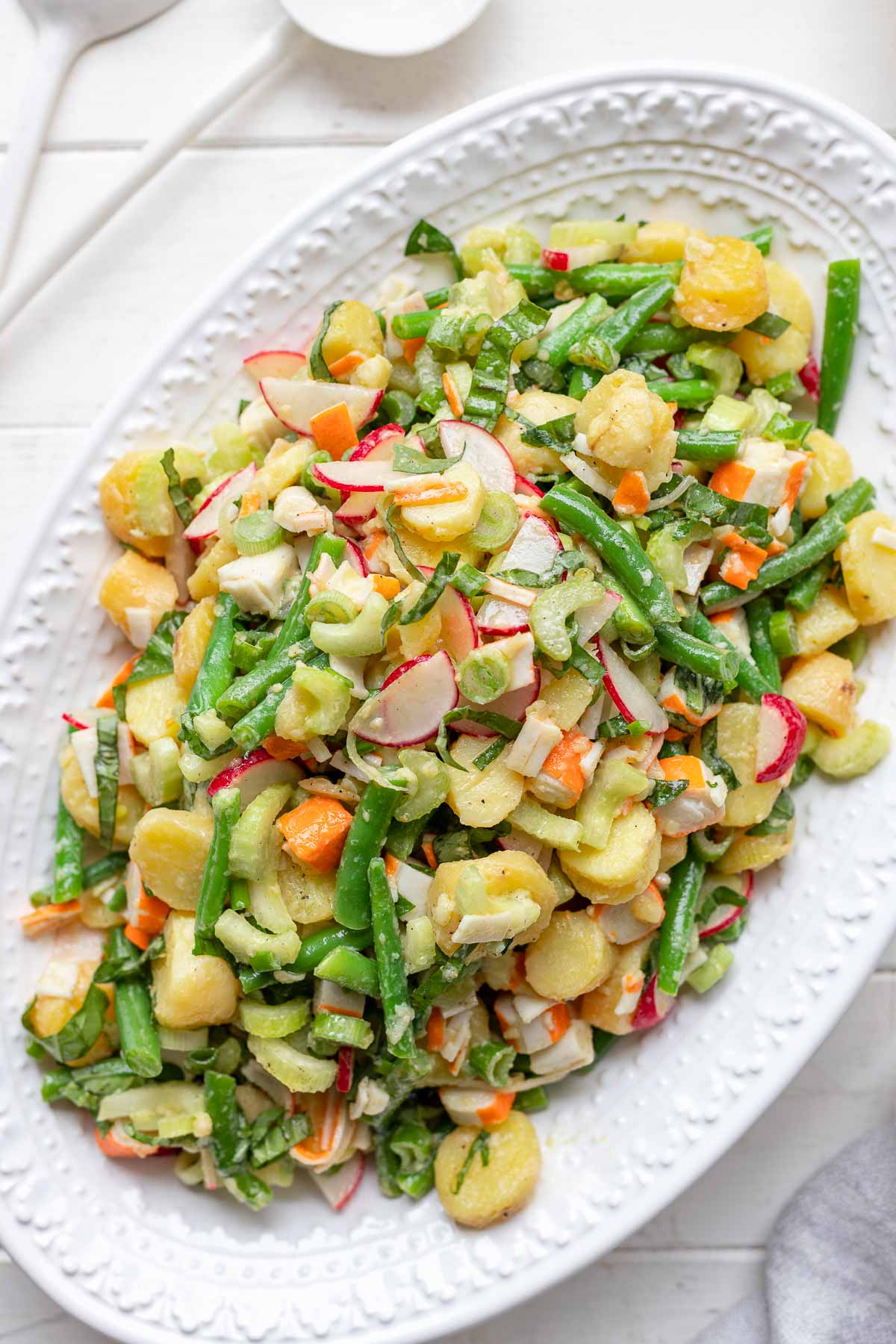 Potato Salad with Surimi Imitation Crab, green beans, radishes and celery