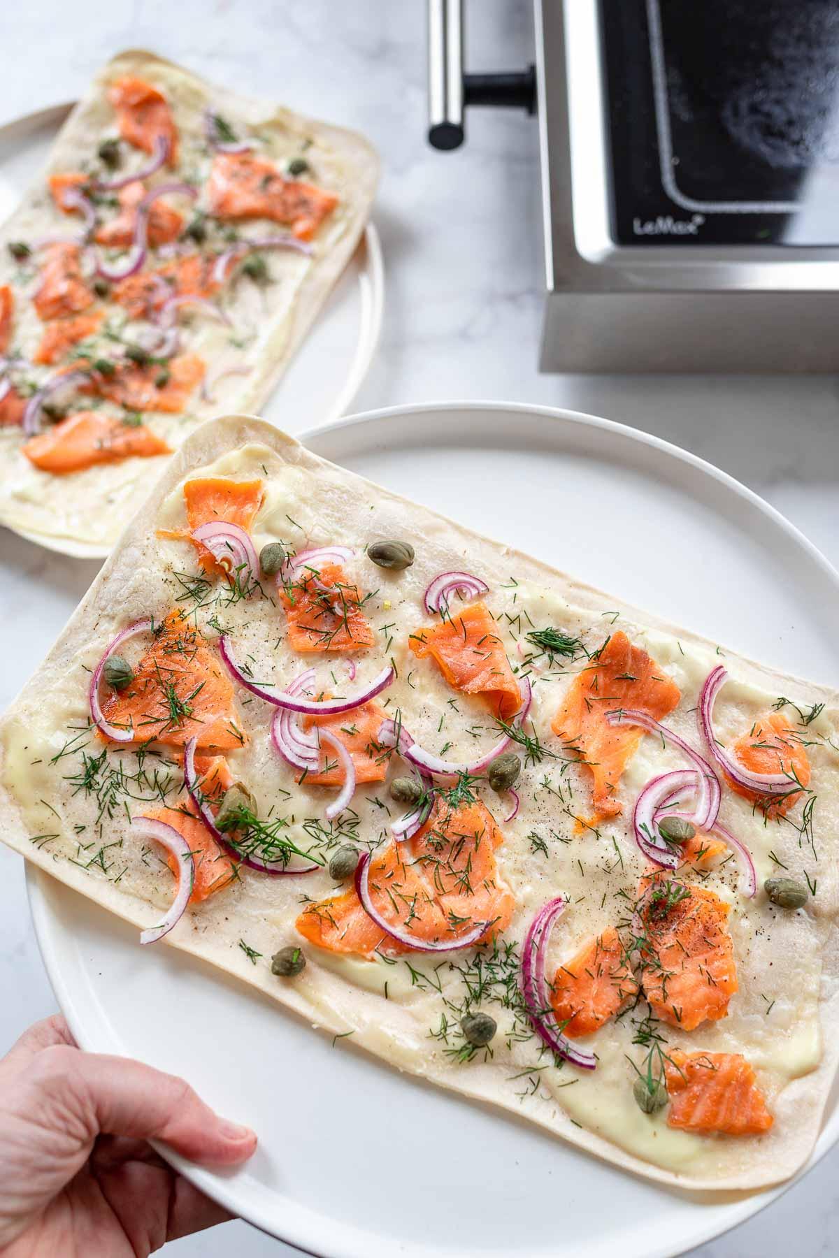 Tarte Flambée with Salmon (Flammkuchen)