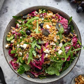 Green Spelt Salad with Feta and Grapes