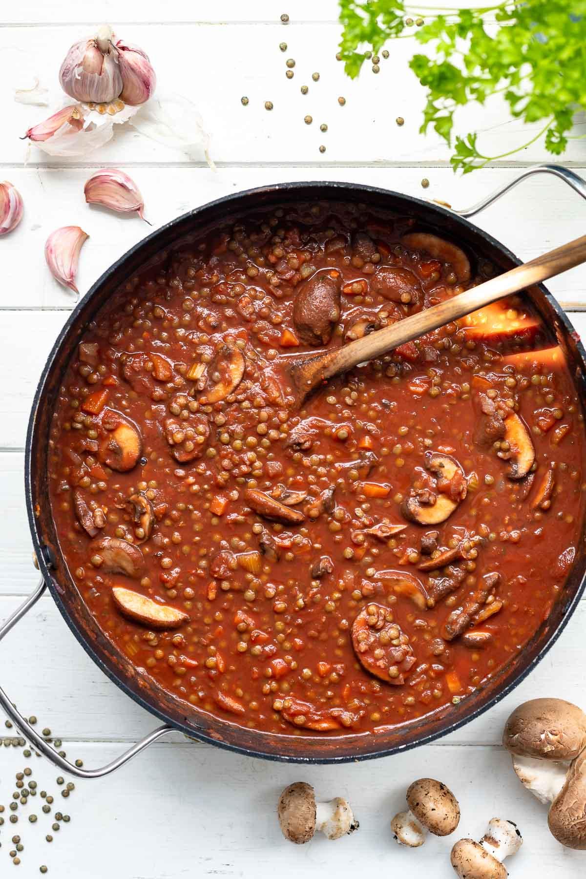 Lentil and Mushroom Ragú with Pasta