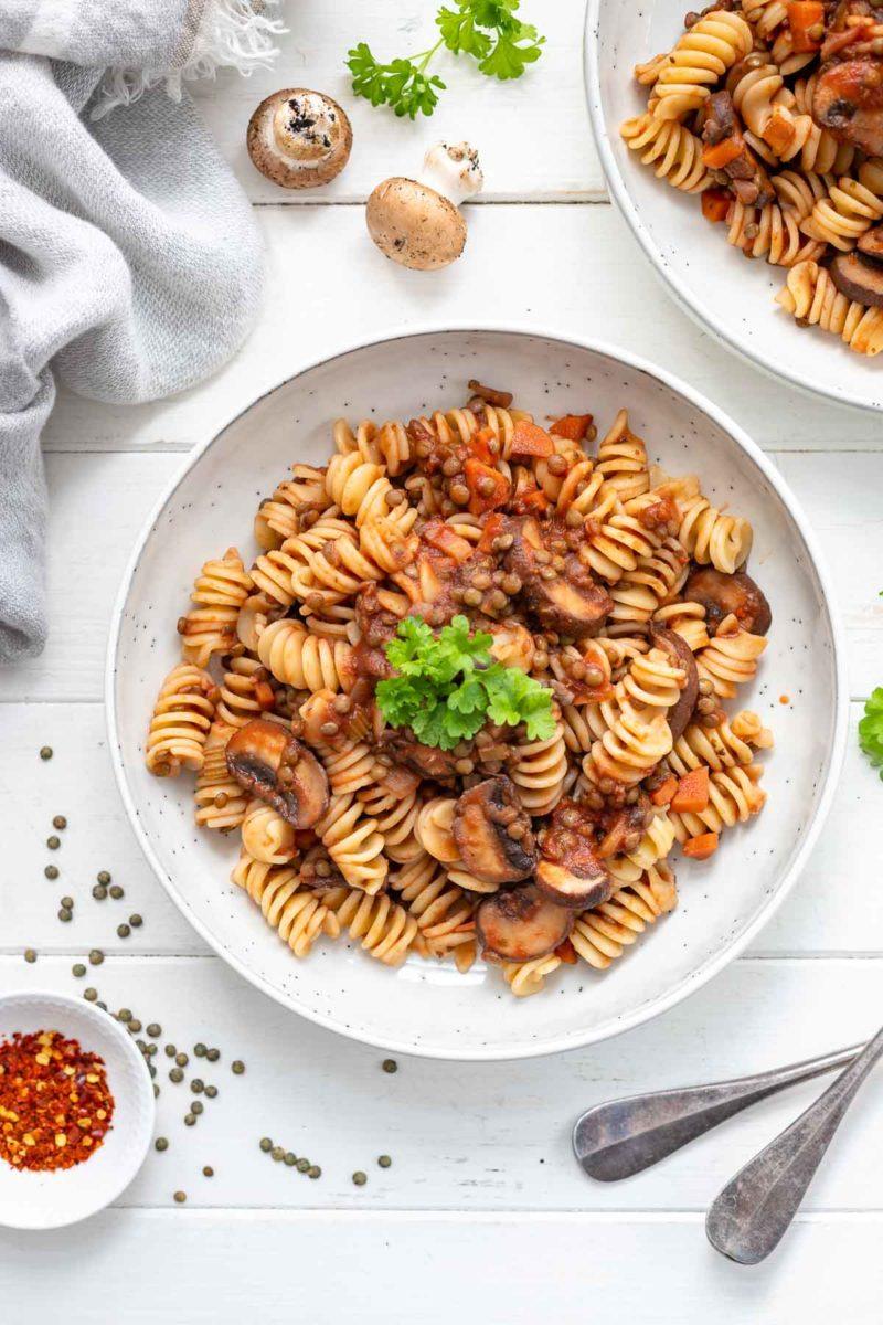 Linsen Pilzragout mit Pasta (veganes Rezept)