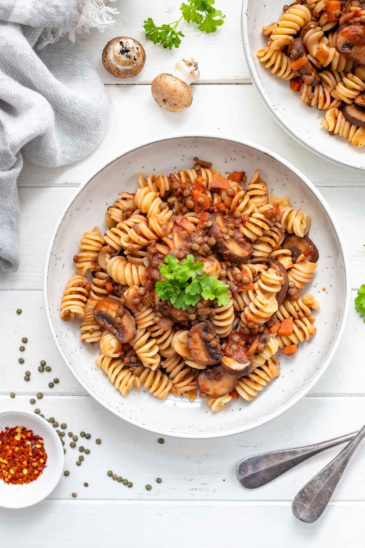 Linsen Pilzragout mit Pasta, vegane Rezept