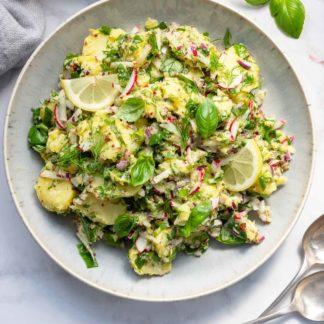 Mediterraner Kartoffelsalatmit Senf & Kapern(ohne Mayo)Rezept