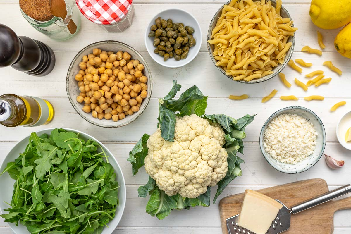 Ingredients for Roasted Cauliflower Pasta Salad with Chickpeas