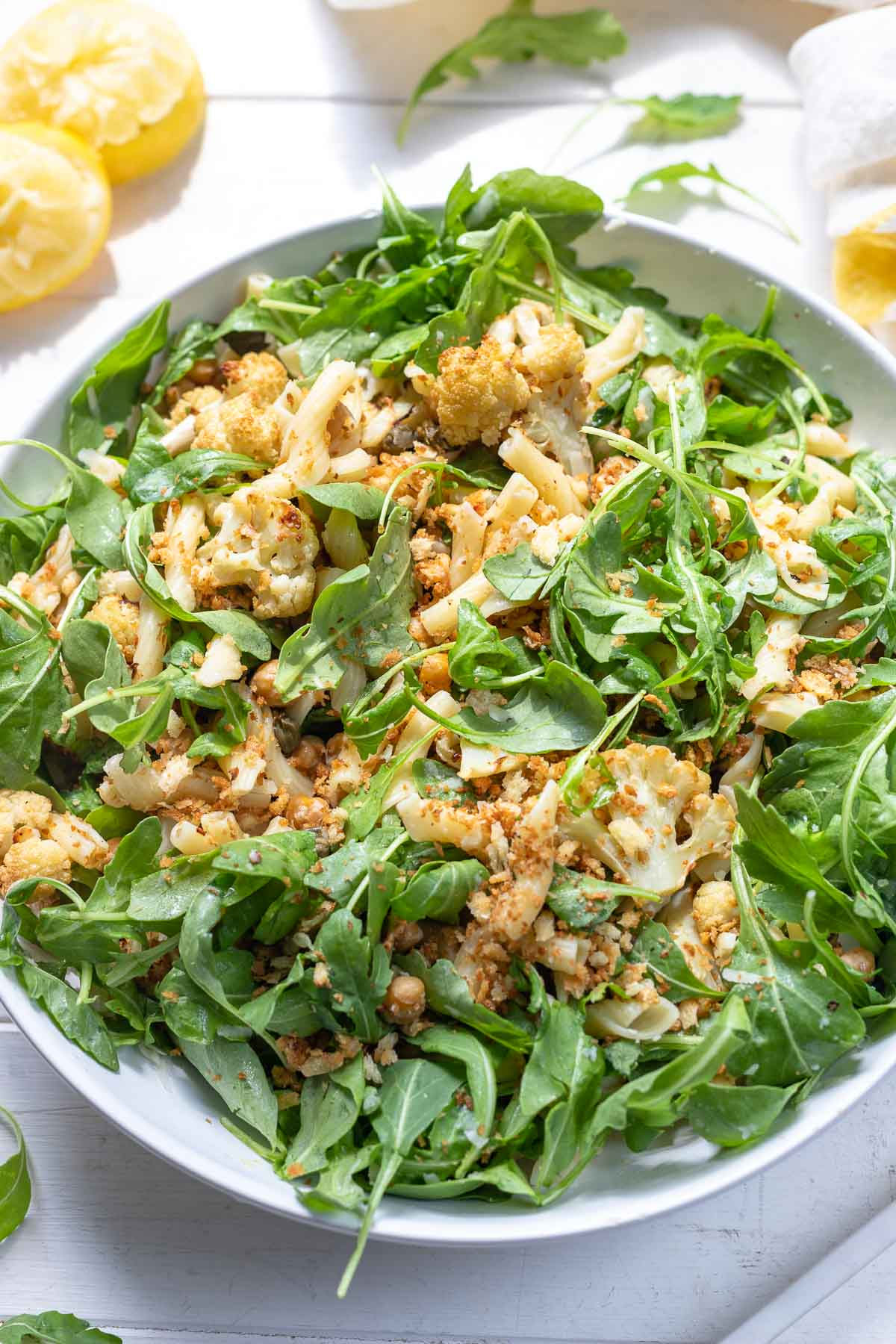 Roasted Cauliflower Pasta Salad with Chickpeas