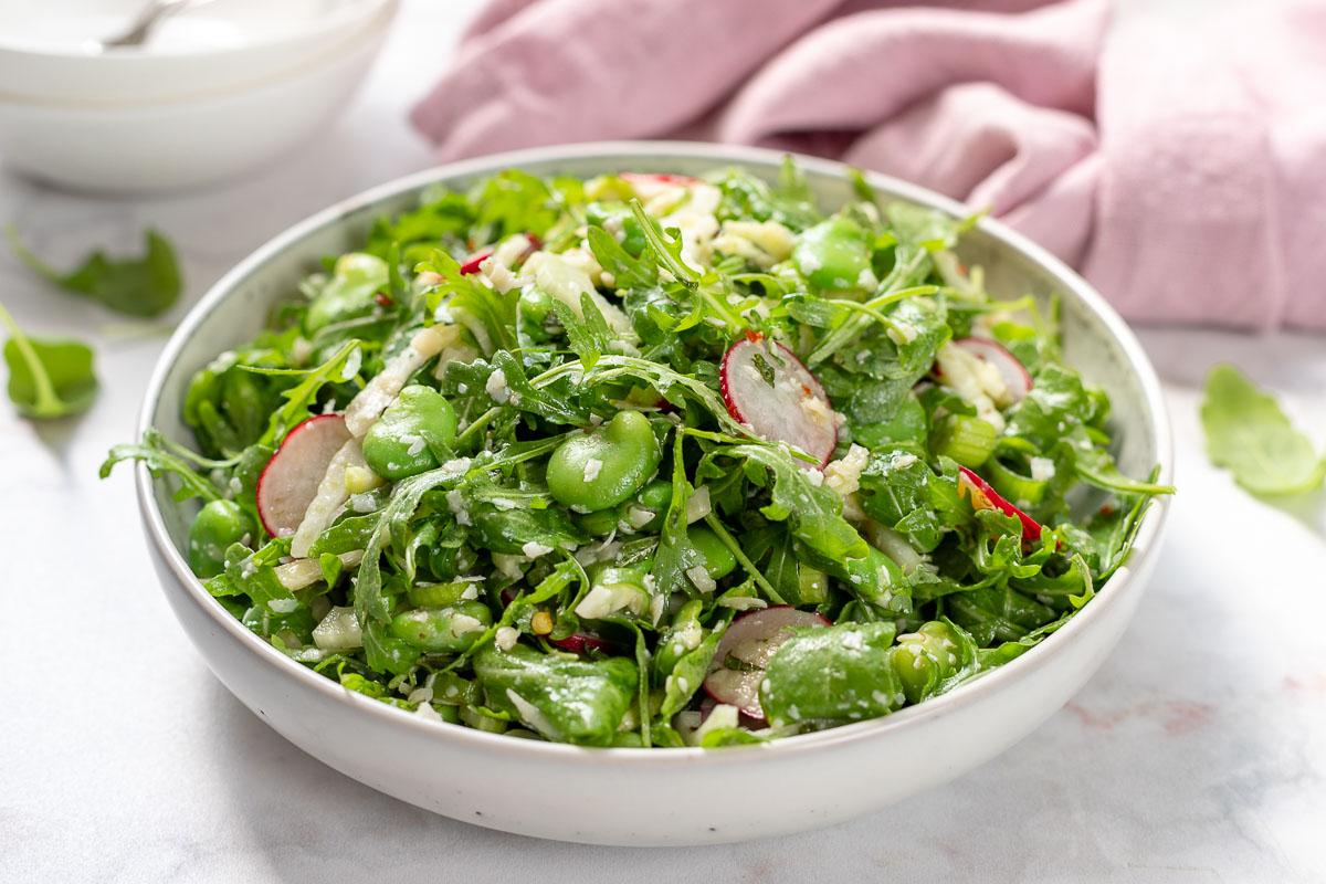 Frischer Dicke Bohnen Salat mit Rucola & Fenchel