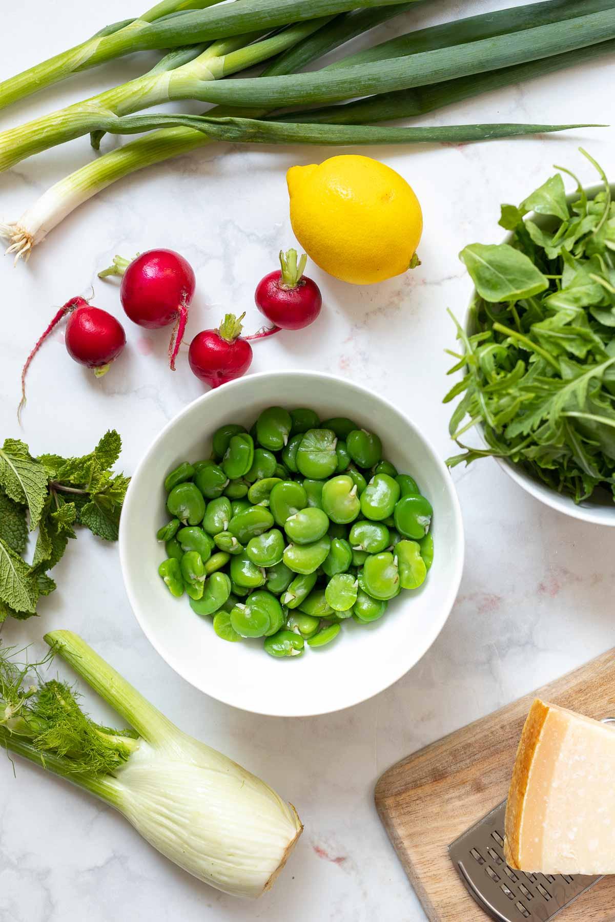Zutaten für Dicke Bohnen Salat