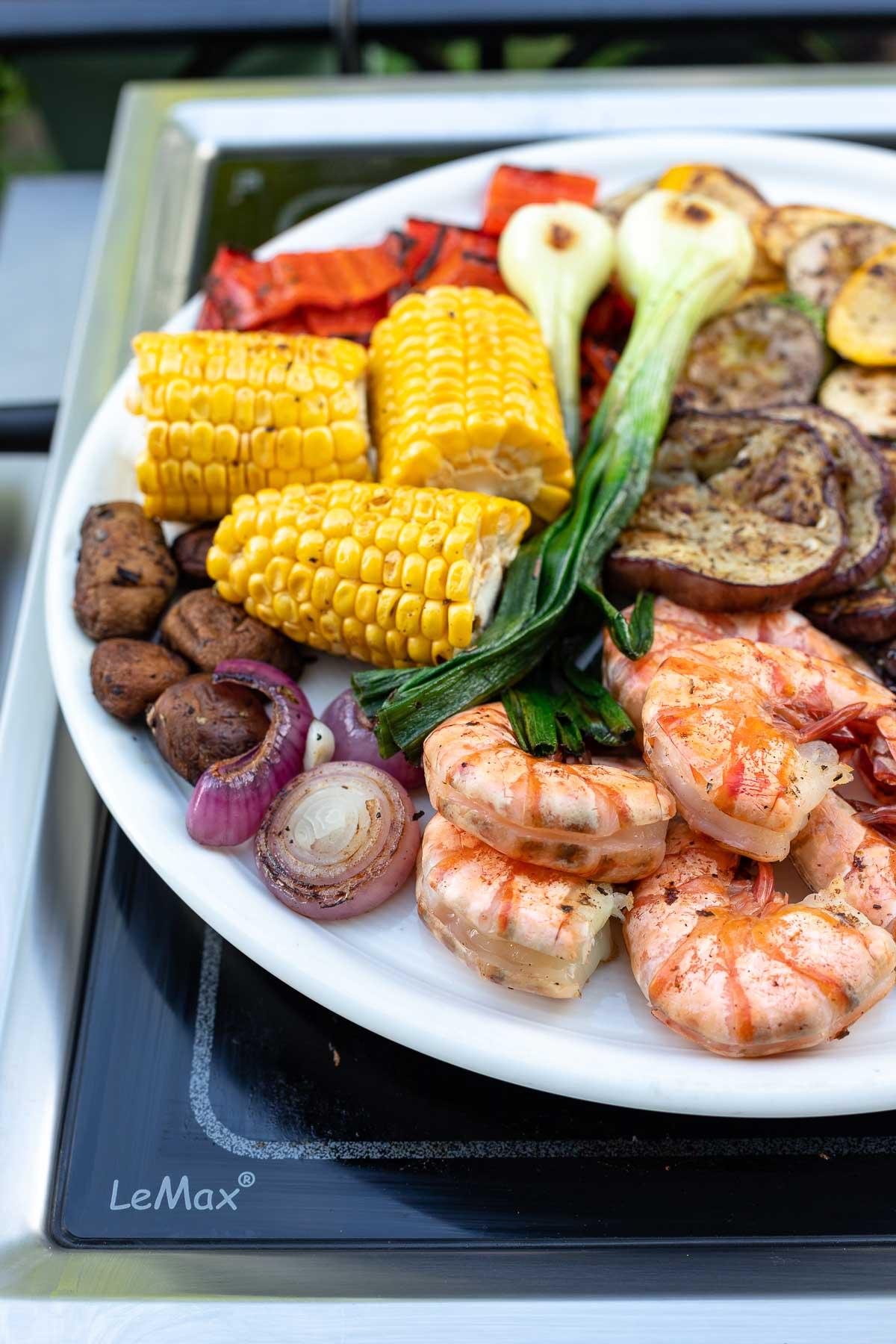 Grilled Vegetable Platter with Tiger Prawns